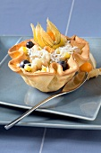 Fruit salad in a crisp pastry casing