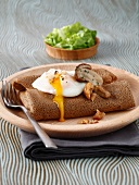 Buckwheat pancake with ceps, chestnuts and soft-boiled egg