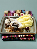 Roast monkfish stuffed with tapenade and mashed potatoes