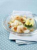 Sea bream and potato carpaccio with peanuts and coriander