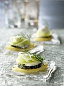 Potato,goat's cheese and cucumber appetizers