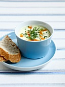 Potato,cucumber and smoked haddock soup