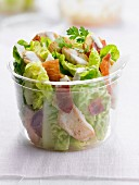 Caesar salad in a plastic container