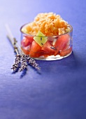 Watermelon fruit salad with melon and Pineau granita