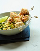 Monkfish brochettes with paprika,garlic,lime and zucchinis