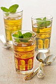 Glasses of mint tea