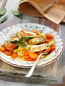 Smoked tofu with carrots, parsnips and wakame seaweed