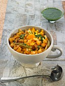 Puchero from The Canary Islands with chickpeas , sweet corn, red pepper and kombo seaweed