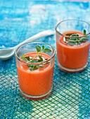 Tomato and watermelon red gaspacho with basil