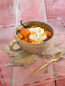 Stewed quince, carrots and orange with vanilla yoghurt