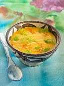 Lentil and carrot soup with fennel and mandarin orange zests