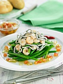 Green bean salad with eels and shrimps
