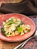 Salt-cod with spinach, white beans and fresh herbs