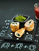 Rolled chicken breasts stuffed with spinach, green bell pepper puree