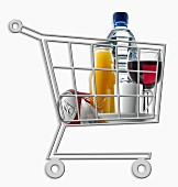 Mini supermarket trolley full of assorted drinks