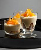 Finger biscuit and orange zabaglione dessert