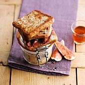 Foie gras and fig toasted sandwich