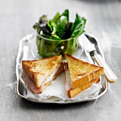 Croque-monsieur, ham and cheese toasted sandwich