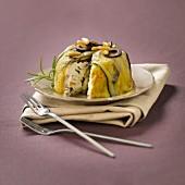 Grilled eggplant, zucchini and goat's cheese terrine