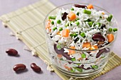 Rice,red kidney bean,pea and carrot salad