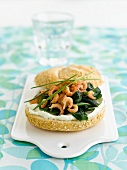 Shrimp and spinach sandwich