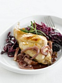 Rabbit with red cabbage,onions and diced bacon