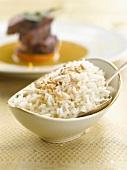 White rice and duck à l'orange