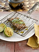 Spicy grilled steak with lime