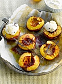 Roast peaches with lavander and whipped cream