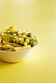 Penne and broad bean salad
