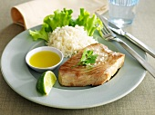 Tuna steak with rice