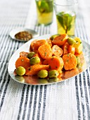 Carrot and green olive salad