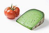 Pesto-flavored Tomme and a tomato