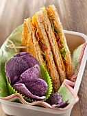 Cheddar and bacon toasted club sandwich,beetroot crisps