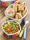 Tabbouleh, hummus and pitta bread