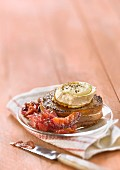 Tournedos Rossini with goat's cheese and plum chutney