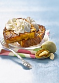 French toast with almond-flavored whipped cream