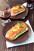 Smoked salmon,fromage frais and avocado Bruschetta