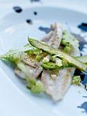 Plaice fillets with green asparagus and romanesco cabbage