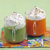 Carrot-cumin Cappuccino and zucchini-saffron Cappuccino