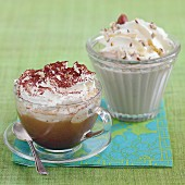 Italian Cappuccino and cream dessert with crushed hazelnuts