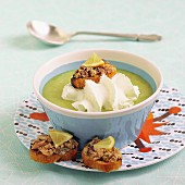 Leek Cappuccino with sardine croutons