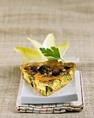 Slice of salmon-broccoli savoury tart