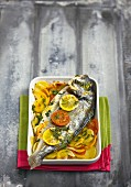 Oven-baked sea bream