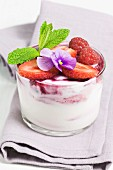 Whipped Fromage blanc with summer fruit and violets