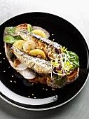 Sardine and confit citrus open sandwich