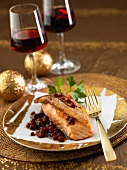 Rossini-style salmon, cranberry sauce