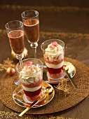 Rose and lychee trifle with pink Champagne