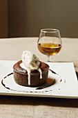 Chocolate fondant with vanilla ice cream