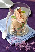 Cinnamon ice cream,thinly sliced grilled almonds and fresh mint